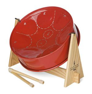 Red steel drum
